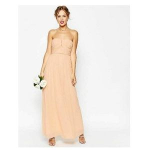 ASOS 6 Dress Pink Bridesmaid Ruched Bodice